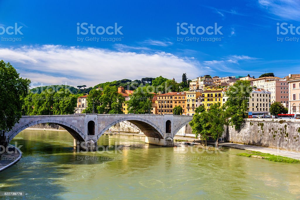 Principe Amedeo bridge in Rome stock photo