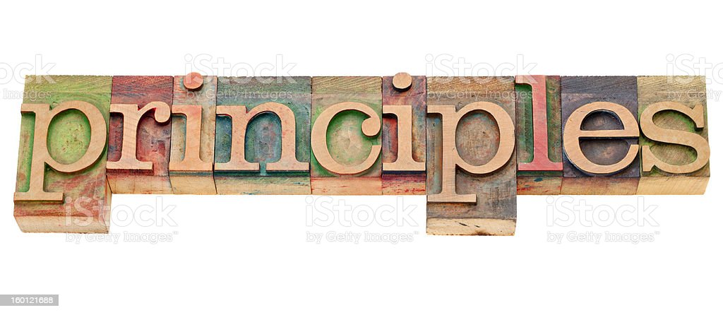 principles word in letterpress royalty-free stock photo