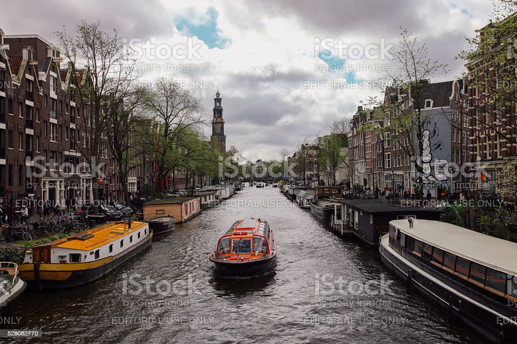 Prinsengracht canal boats in Amsterdam, Netherlands stock photo