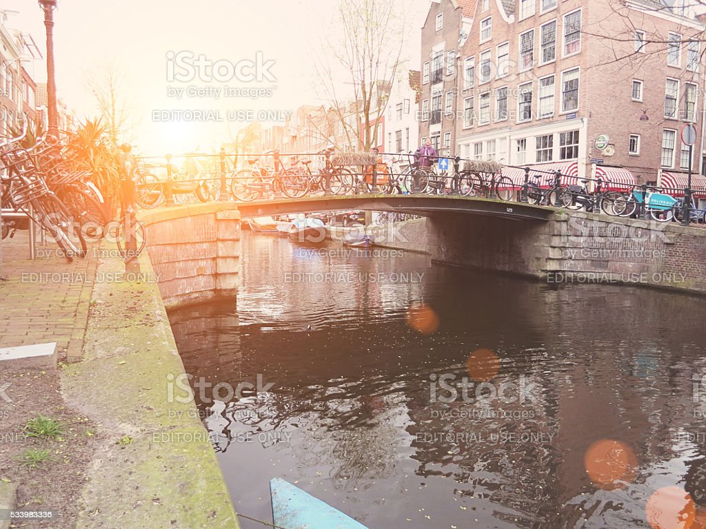Prinsengracht canal boats in Amsterdam stock photo