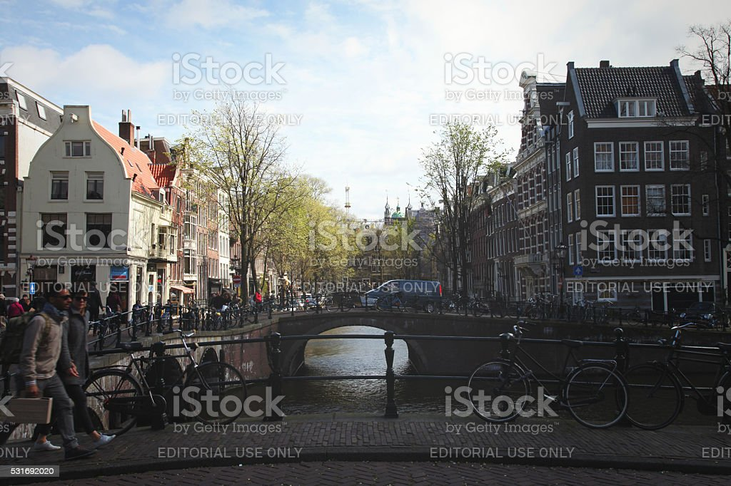 Prinsengracht canal bridge houses in Amsterdam, Netherlands stock photo