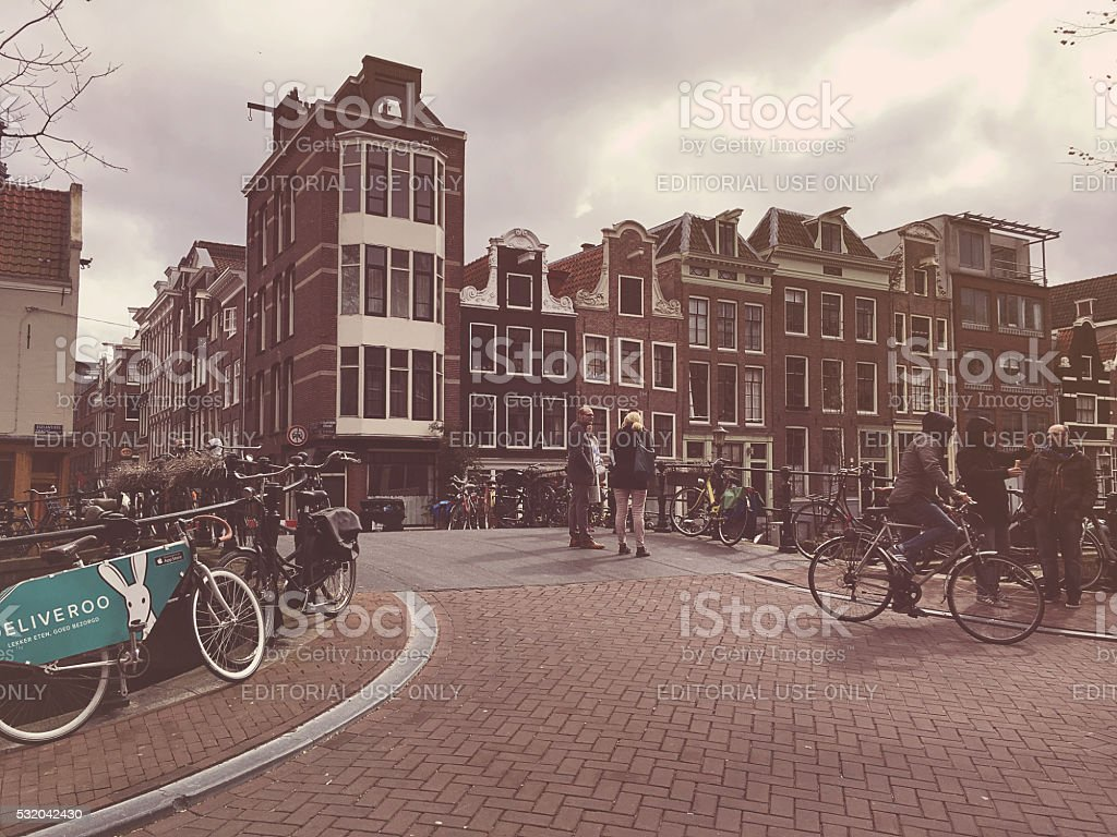 Prinsengracht canal bridge in Amsterdam, Netherlands stock photo
