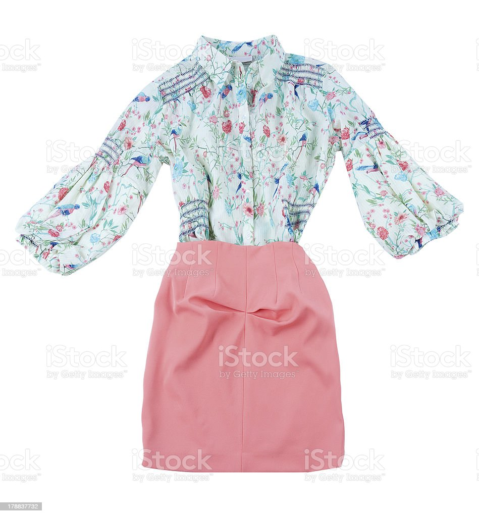 Print blouse and pink skirt fashion look royalty-free stock photo