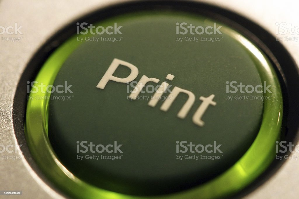 Print button with green light ring royalty-free stock photo