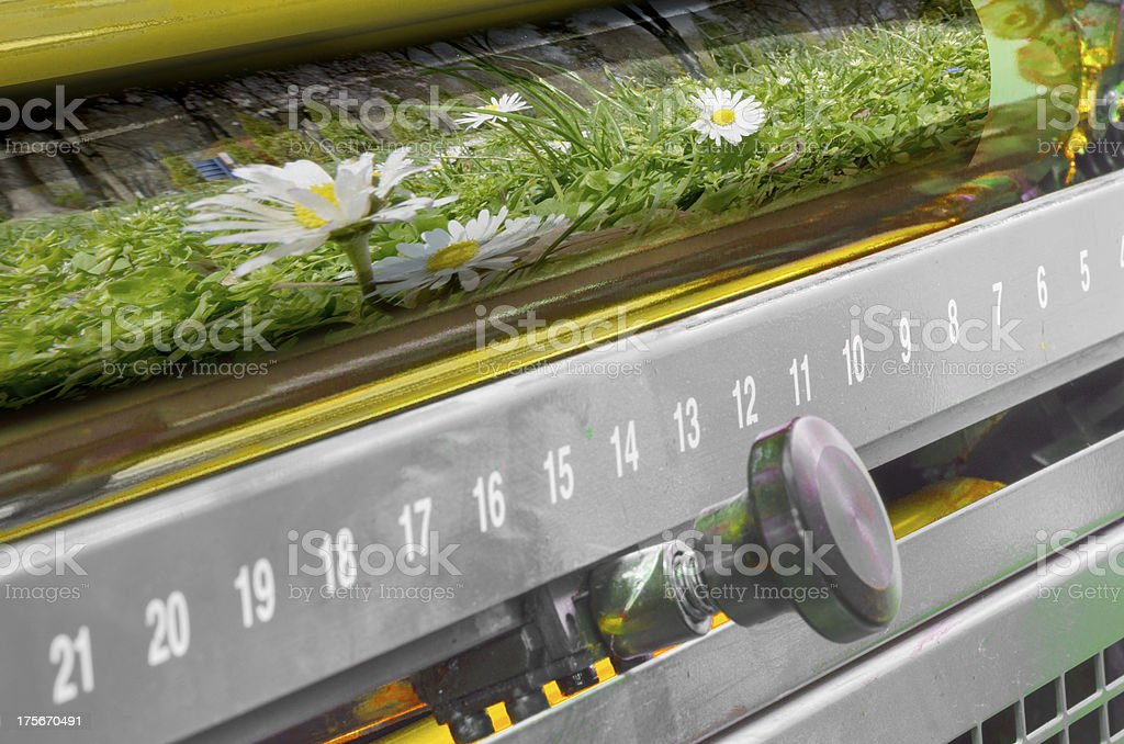 print drum, offset web set machine, close up stock photo