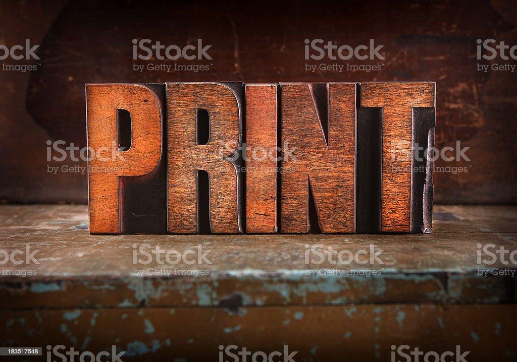 Print - Letterpress letters royalty-free stock photo