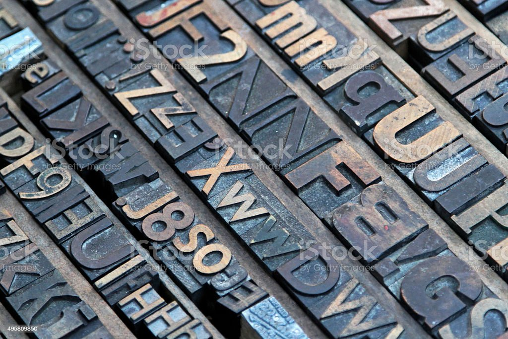 Print letters stock photo