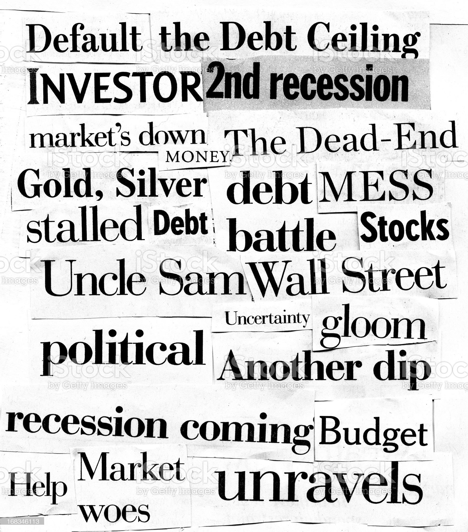 Print media collage of financial crisis related terms royalty-free stock photo