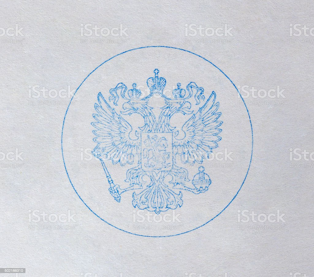 Print of the double eagle on the white paper. stock photo