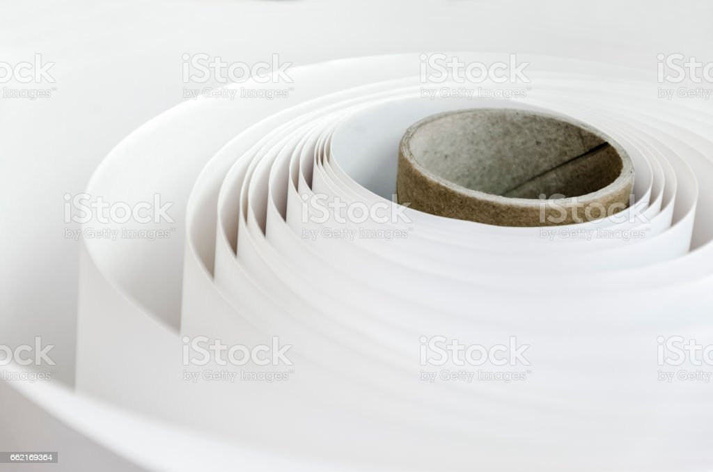 Print Paper roll curl stock photo
