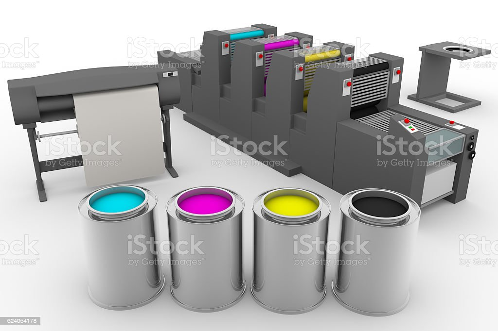 CMYK print production process stock photo