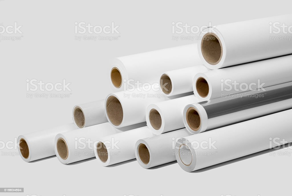 print rolls for wide-format printers stock photo