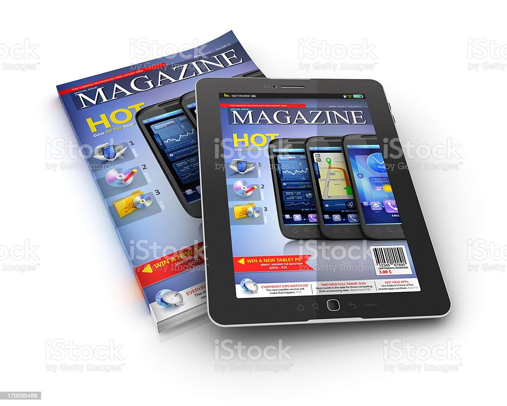 printed and electronic magazine stock photo