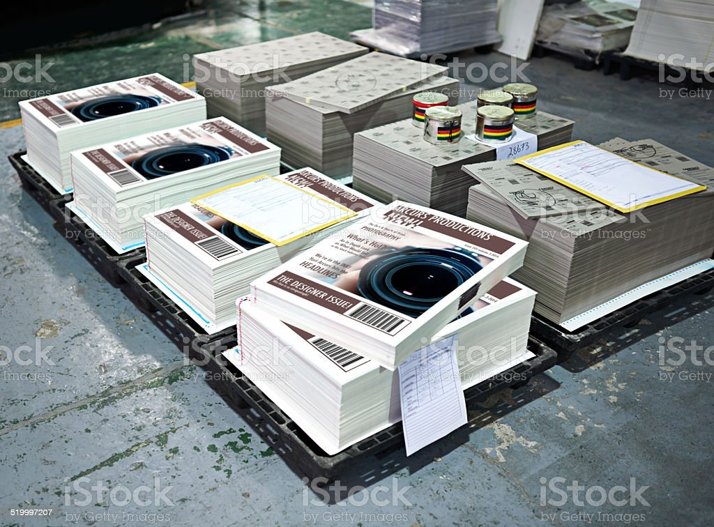 Printed and ready for shipment stock photo