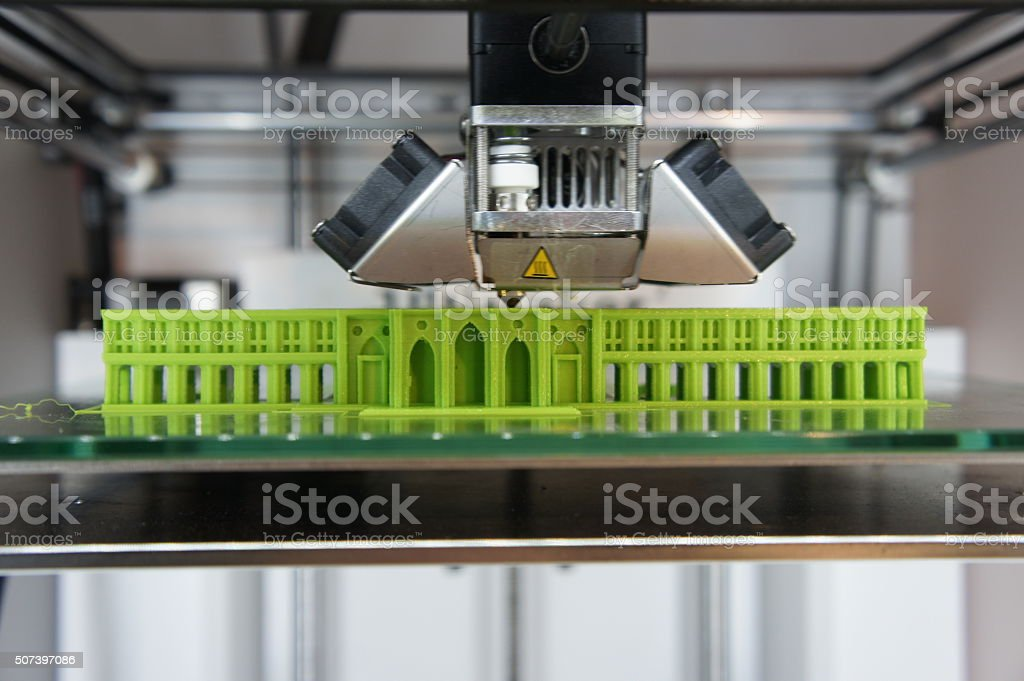 3D printed architectural model stock photo