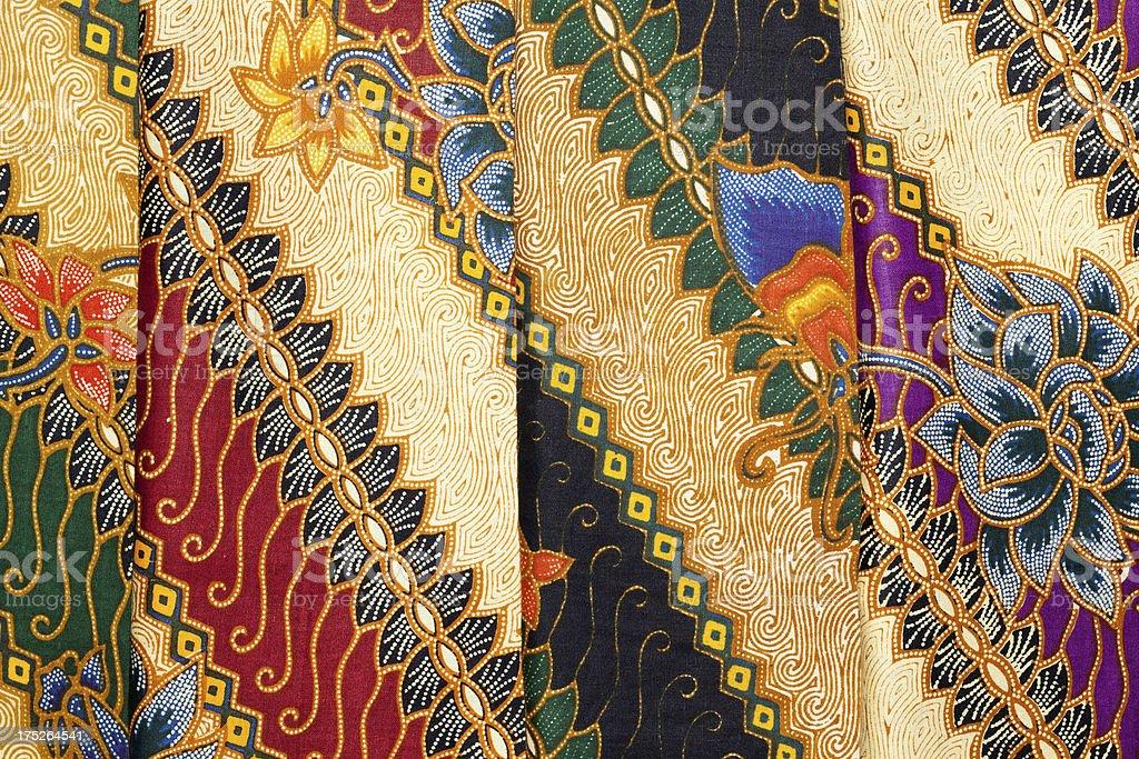 Printed Batik at Indonesian Textile-Market stock photo