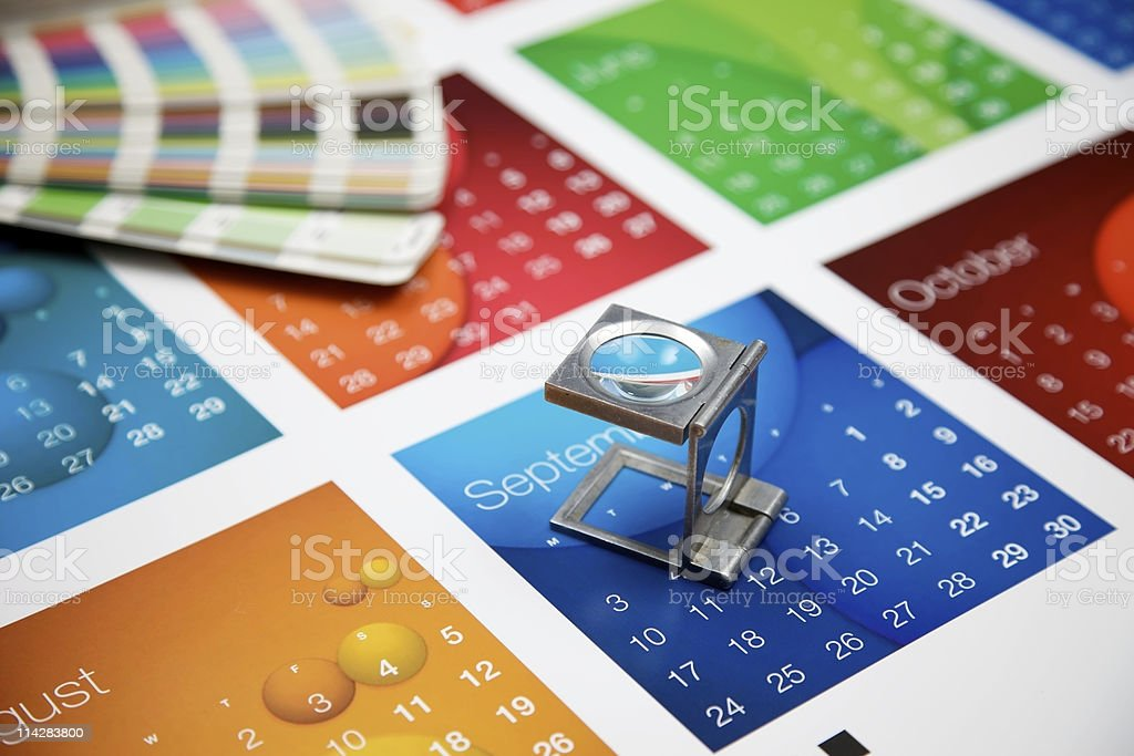 Printed Calendar and Eye Glass... royalty-free stock photo