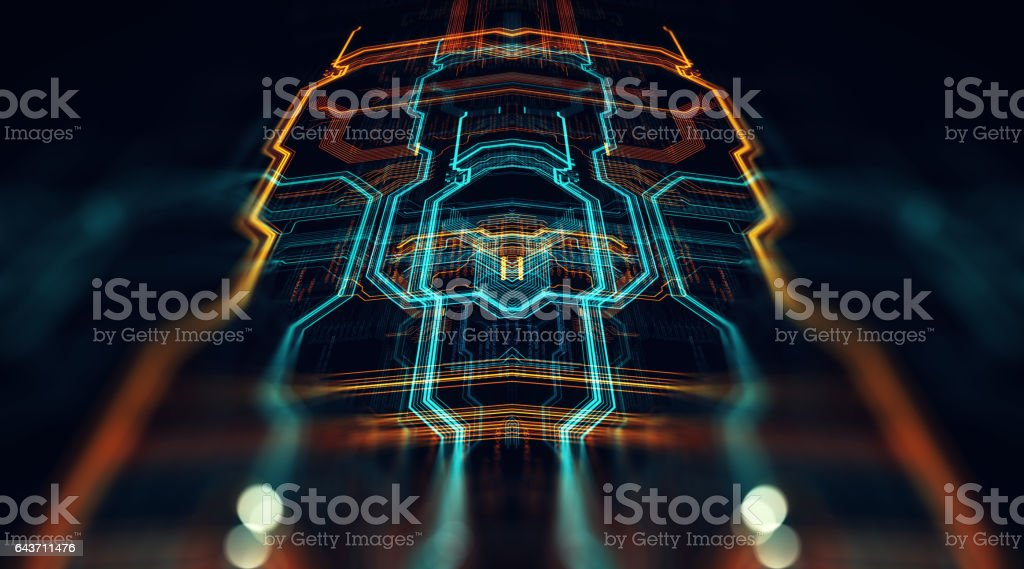 Printed circuit board in the server executes the code. stock photo