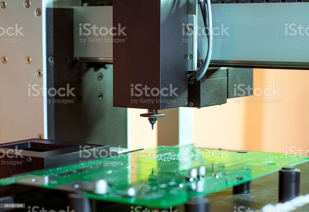 Printed circuit Board on the table of the robot stock photo
