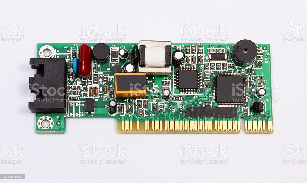 Printed circuit board on white background, technology stock photo