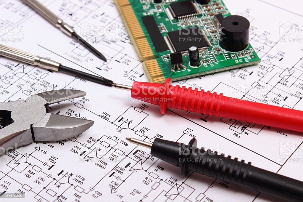 Printed circuit board, precision tools and cable of multimeter stock photo