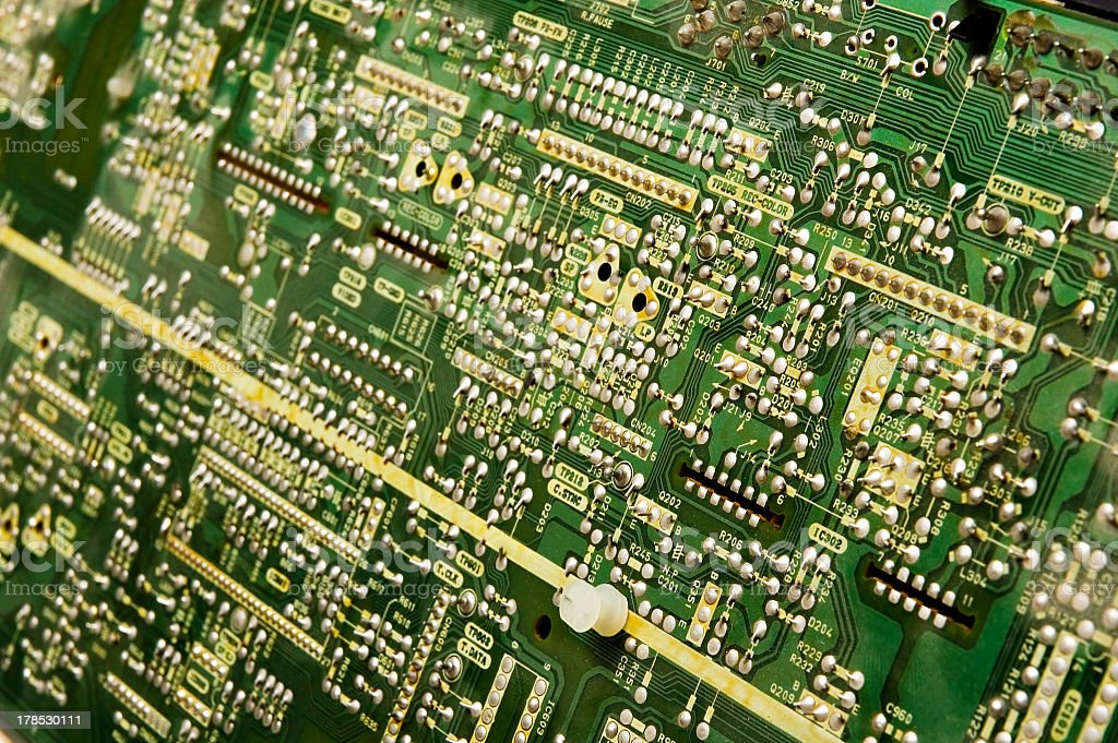 Printed circuit board - shallow depth of field stock photo