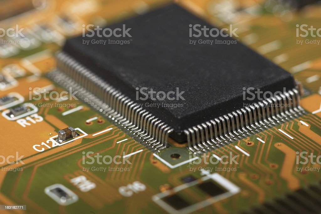 Printed Circuit Board with electrical components royalty-free stock photo