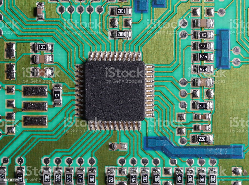 printed circuits with chip royalty-free stock photo