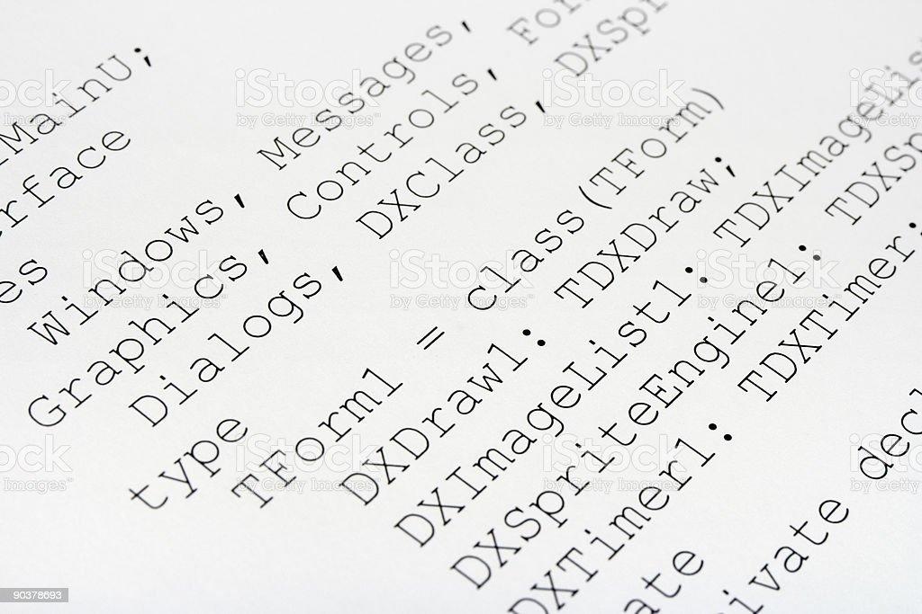 Printed computer code royalty-free stock photo