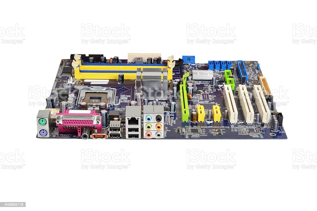 Printed computer motherboard stock photo