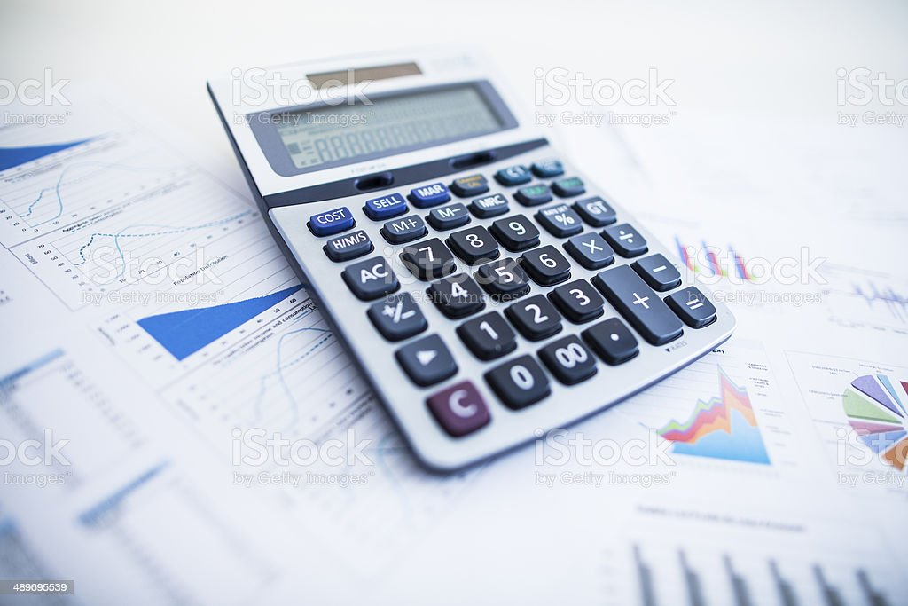 printed data calculation stock photo