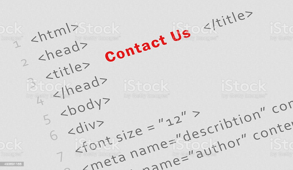 Printed html code for 'Contact us' page stock photo