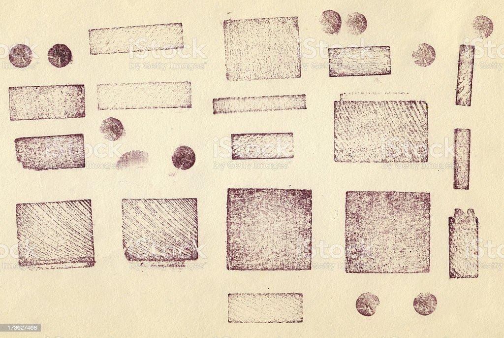 Printed letterpress shapes stock photo