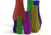 Printed object vase set 3d illustration isolated