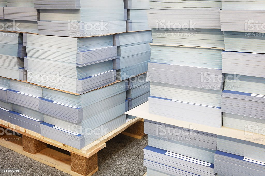 Printed papers in the printshop stock photo