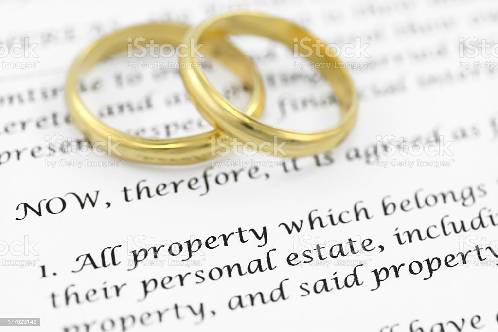 Printed prenuptial agreement with two golden wedding bands stock photo
