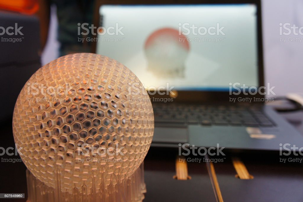 3D printed sphere with support stock photo