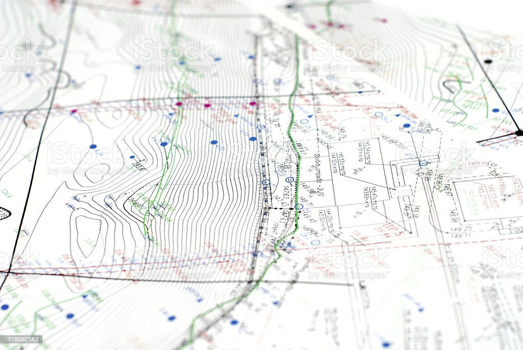 Printed topographic maps royalty-free stock photo
