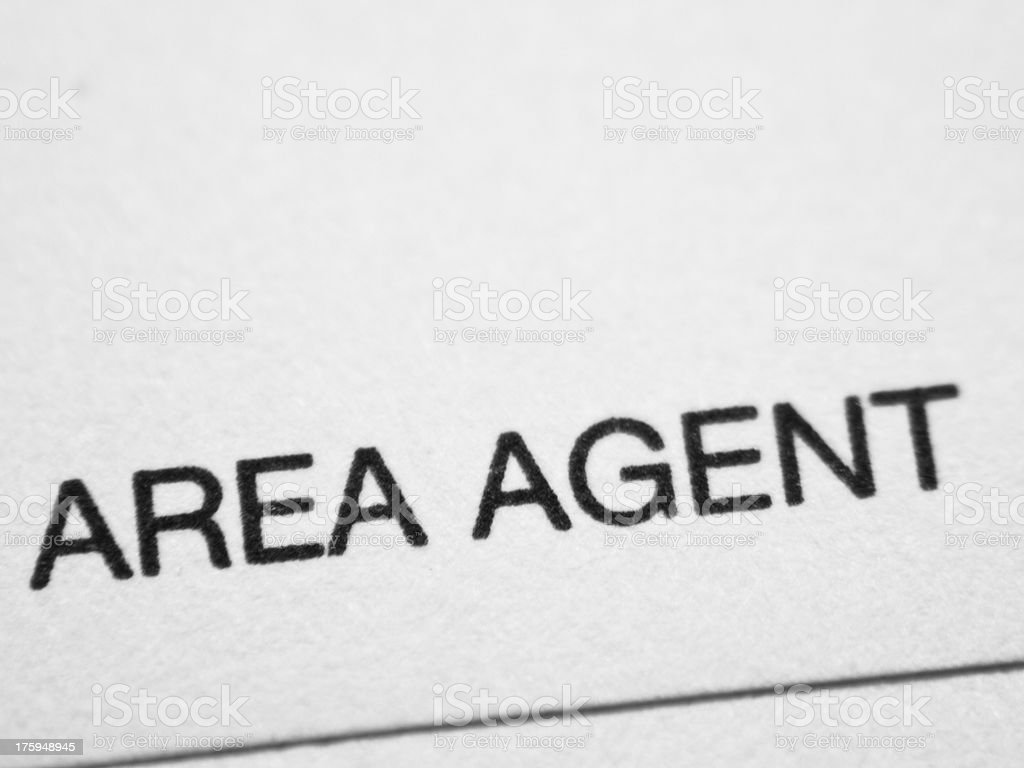 Printed word AREA AGENT stock photo