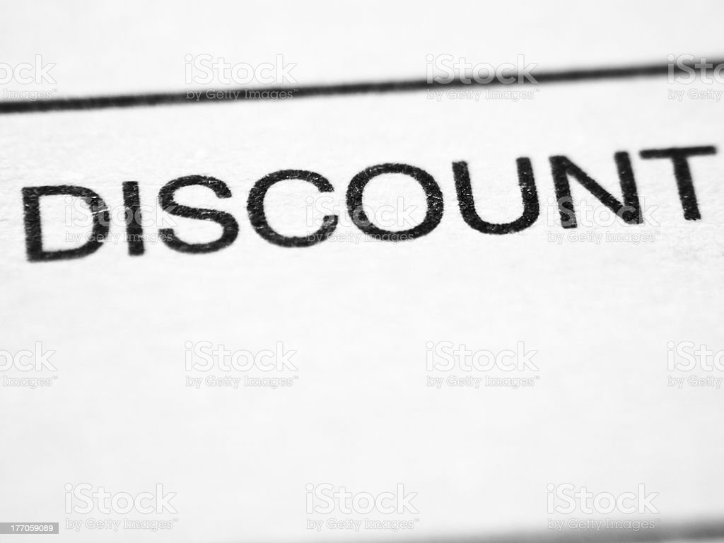 Printed word DISCOUNT stock photo