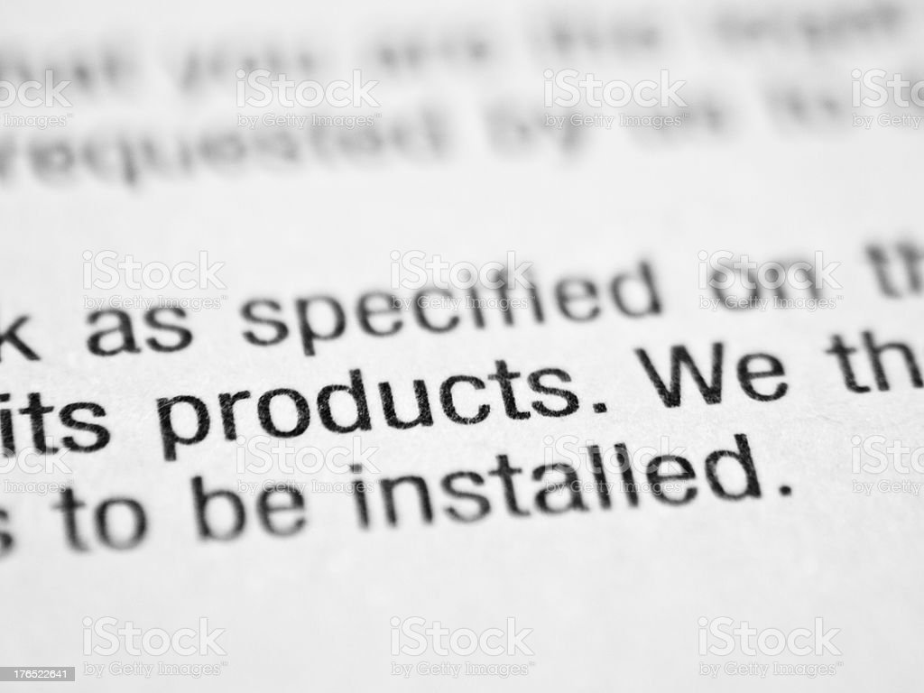 Printed word PRODUCTS royalty-free stock photo