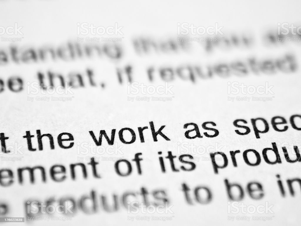 Printed word THE WORK stock photo