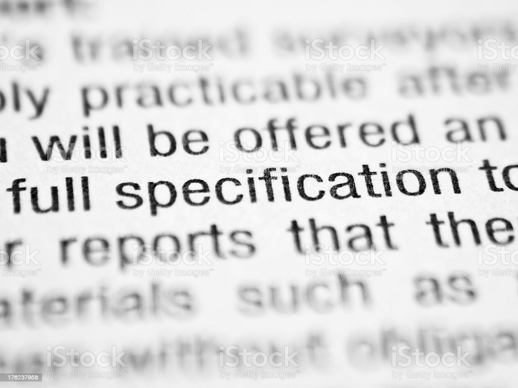 Printed words FULL SPECIFICATION stock photo