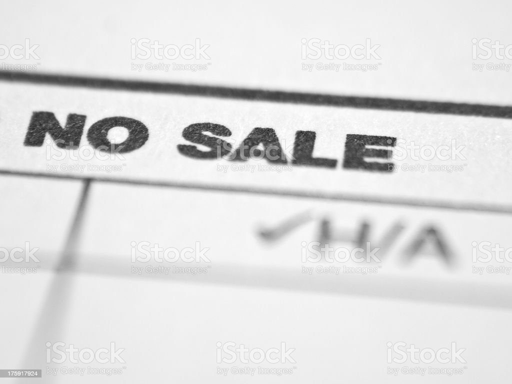 Printed words NO SALE stock photo