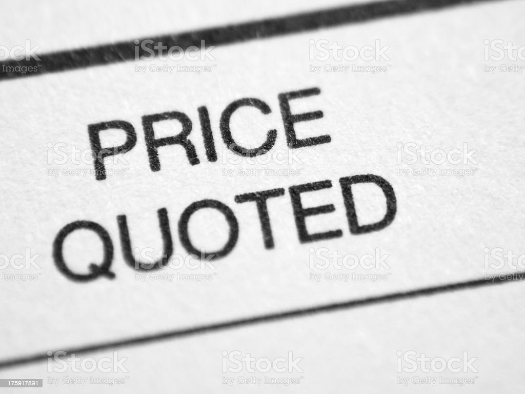 Printed words PRICE QUOTED royalty-free stock photo