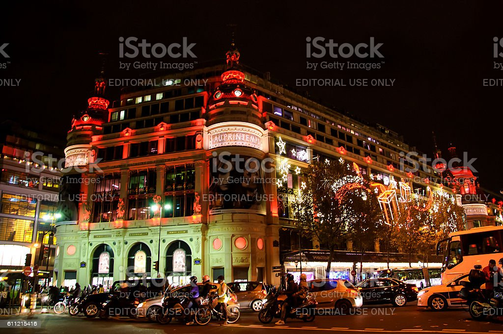 Printemps department store decorated for Christmas in Paris. stock photo