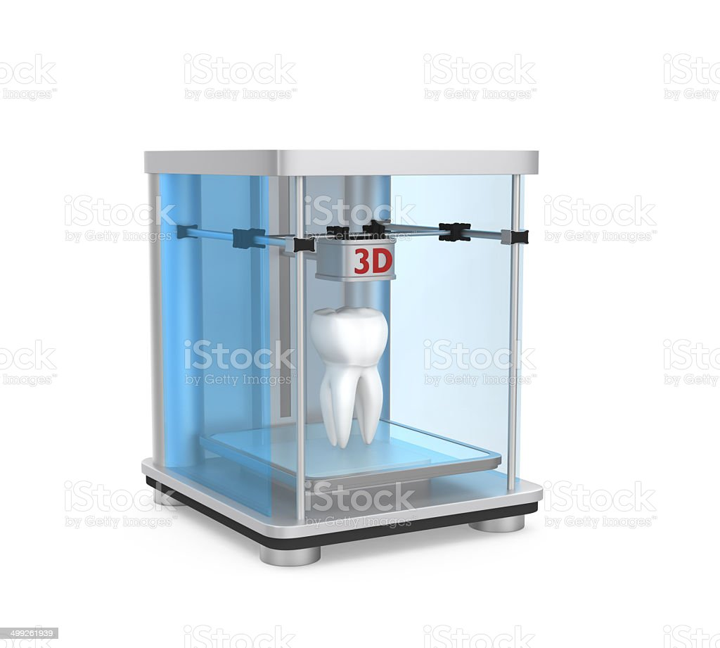 3D printer and human tooth for dental tissue engineering concept stock photo