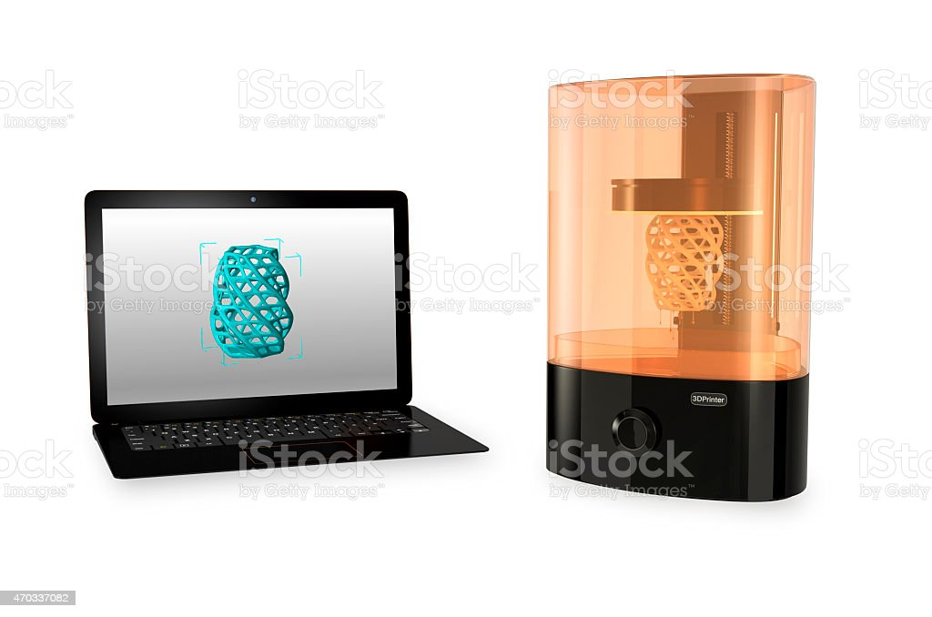 SLA  3D printer and Laptop computer isolated on white background stock photo