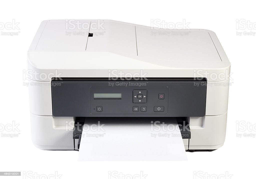 Printer and paper isolated on white background stock photo