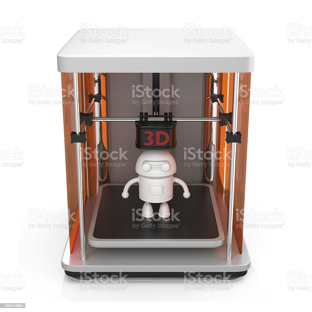 3D Printer and robot model on white background stock photo